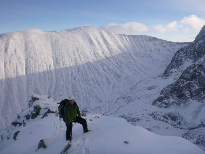 High on a wintry Ledge Route, Ben Nevis