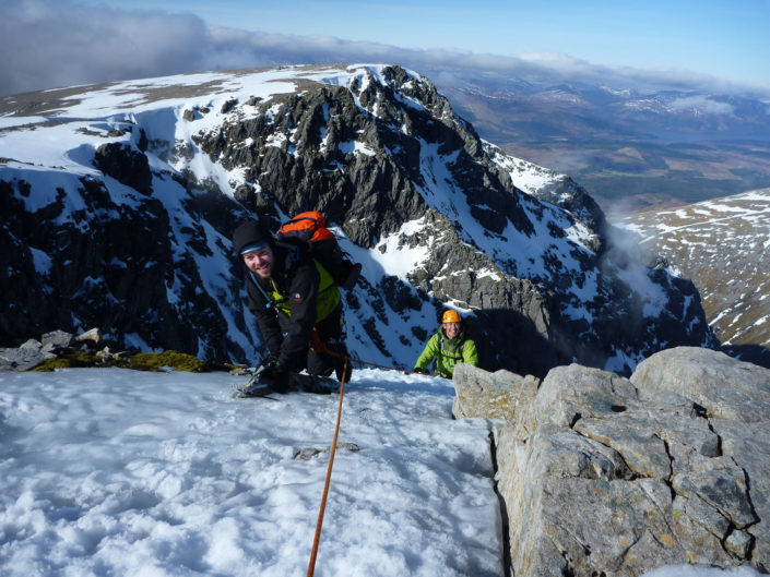 Climbing No. 3 Gully Buttress on one of our Scottish Winter Climbing Courses