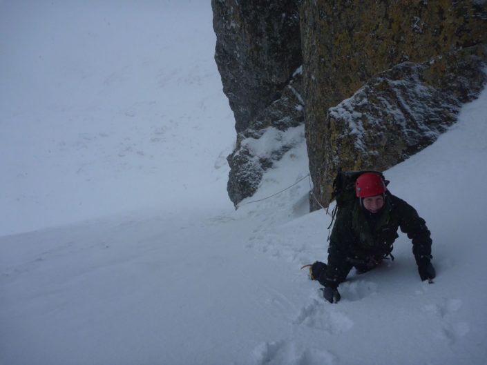 Learning to lead on our winter climbing course