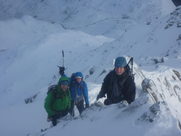 Winter mountaineering on the Forcan Ridge