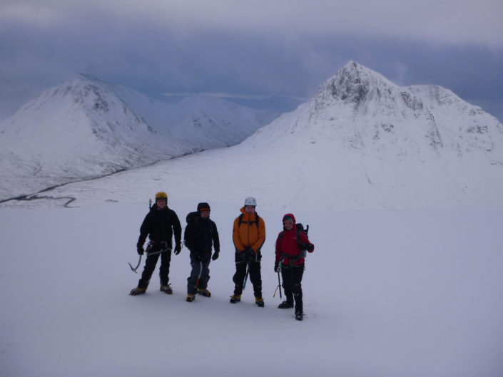 Winter mountaineering on Beinn a' Chrulaiste in Glencoe