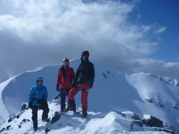 At the top of School House Ridge in Glencoe, on a winter mountaineering course