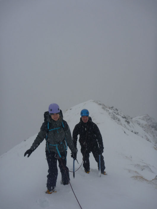 Proper winter mountaineering conditions
