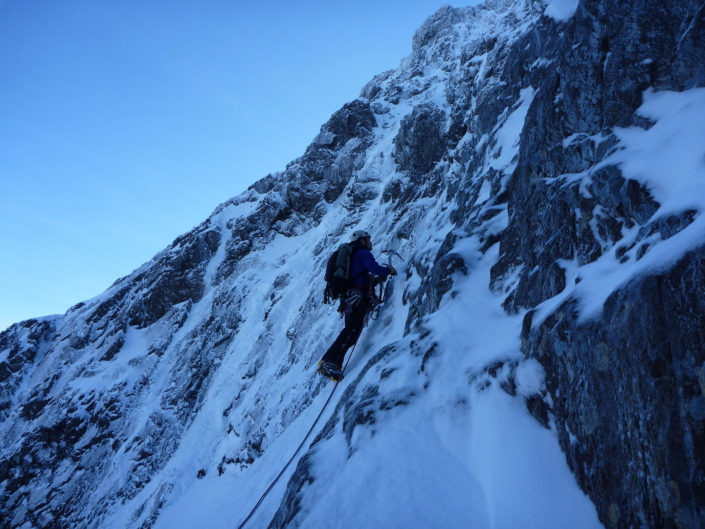 Setting off up Observatory Buttress on our Winter Climbing Course based at the CIC Hut
