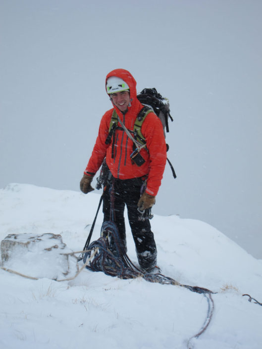 Sorting gear out after climbing No. 6 Gully Aonach Dubh on our winter climbing course