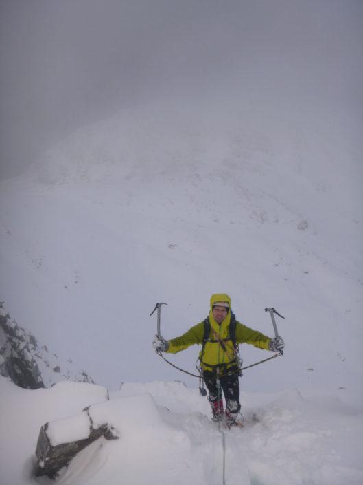 Enjoying climbing on our winter climbing course