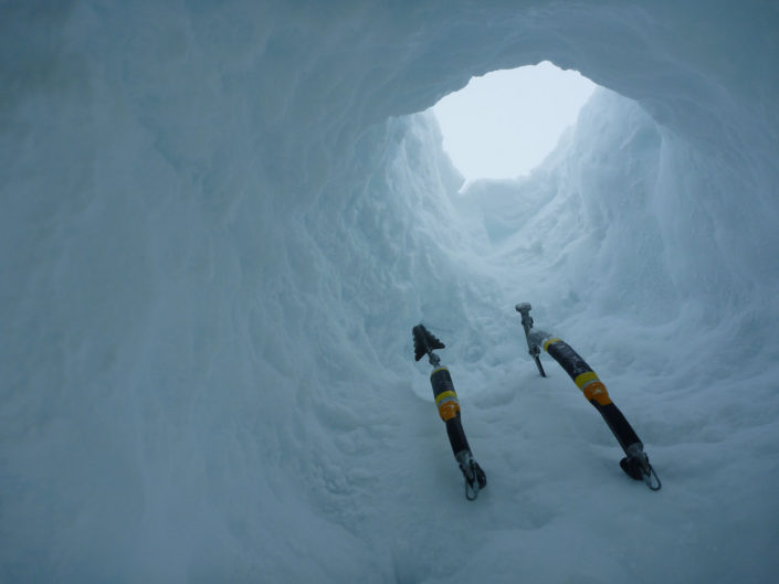 Tunnel through the cornice of White Shark