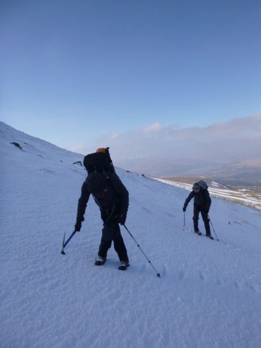 Cutting steps on Aonach Mor