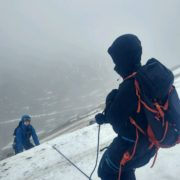Stomper Belay on a winter mountaineering course