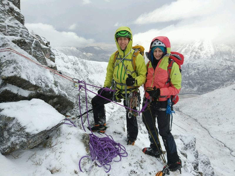 Couple winter climbing on the East Ridge of the North Buttress of Stob Ban