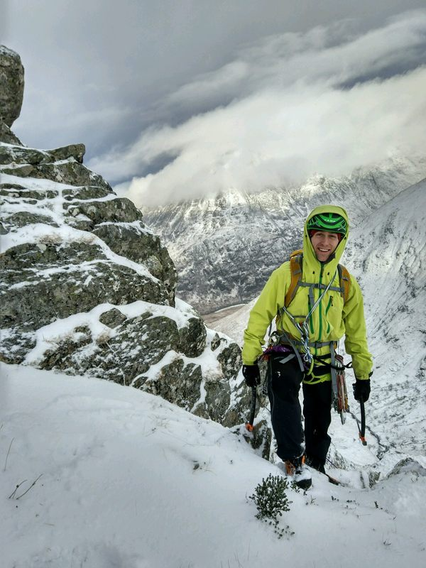 Joe enjoying the East Ridge of the North Buttress of Stob Ban