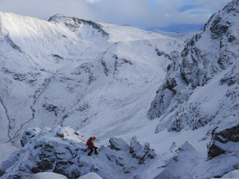 Final ridge of the East Ridge of the North Buttress of Stob Ban