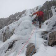 Ice climbing on the Little Brenva Face, Ben Nevis