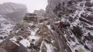 First pitch of East Face Route, Glencoe