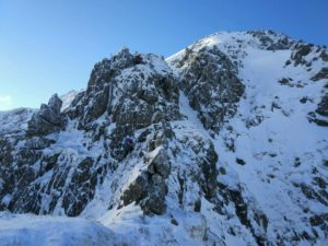 Alpine conditions on the East Ridge of the North Top of Stob Ban