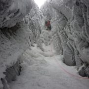 Tricky winter climbing in Gardyloo Gully, Ben Nevis