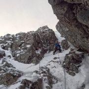 Winter climbing up South Gully, Ben Nevis