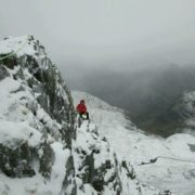 Learning to winter climb on Dorsal Arete