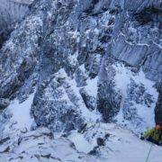 Mixed climbing on No. Three Gully Buttress