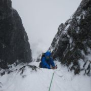 Guiding Comb Gully on a Winter Climbing Course