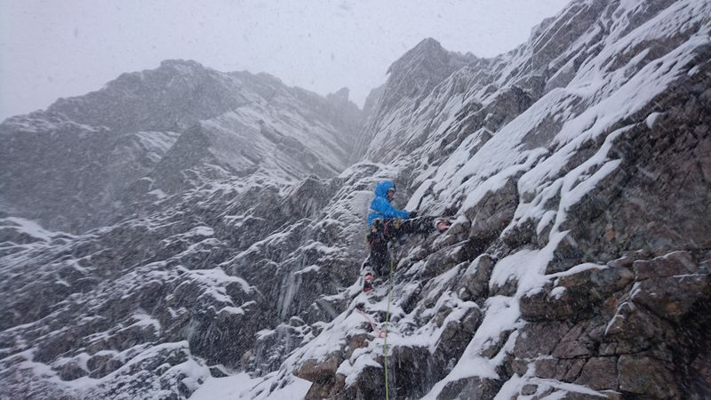 Andy on Slab Climb, Ben Nevis