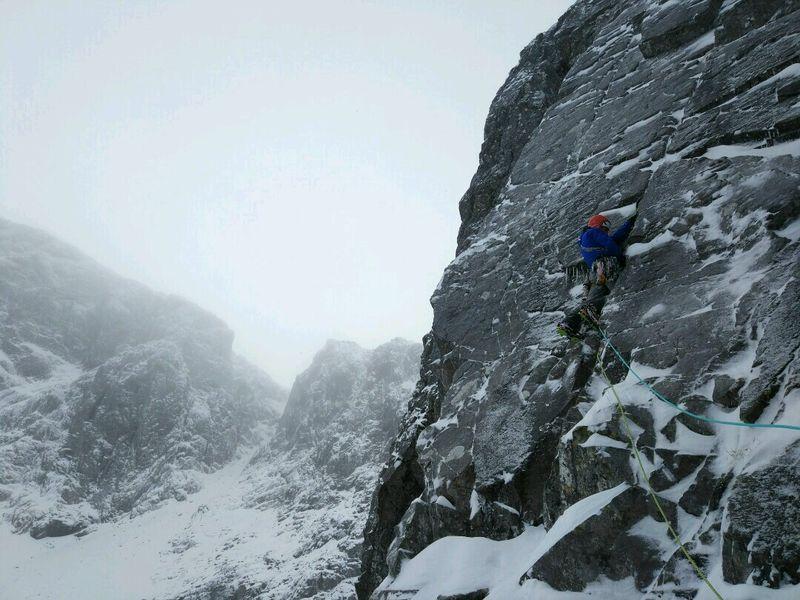 Steve on Slab Climb, Ben Nevis
