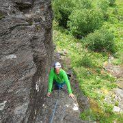 Rock climbing at Polldubh, Glen Nevis