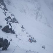 Good conditions on No. 3 Gully Buttress, Ben Nevis