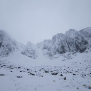 Great conditions on Dorsal Arete, Stob Coire nan Lochan