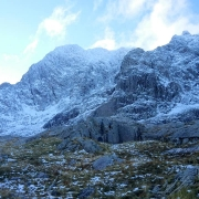 Excellent early season conditions on Tower Ridge, Ben Nevis